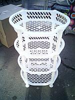 Этажерка пластиковая для ванной и кухни (Белая)