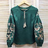 Зеленая вышиванка с вышивкой цвета беж дерево птицы