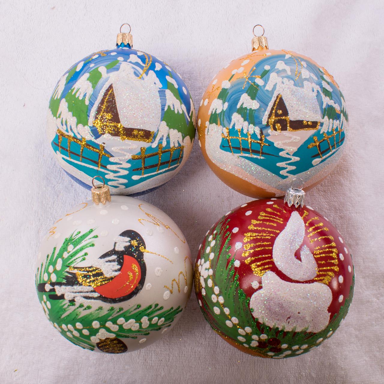 Набор новогодних шаров Handmade 407. В упаковке 4 шара.  Диаметр 100 м