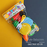 Продукты пластиковые на липучке, досточка, нож, тарелка, в кульке, 18,5-28-6см
