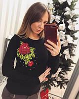"""Красивый женский свитер """"Красная роза"""", фото 1"""