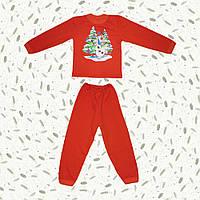 Детская пижама с начесом Снеговик Олаф (красная)