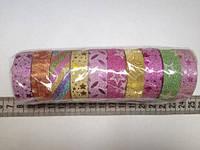 Скотч декоративный 1,5 см цветной с узорами для рукоделия, упаковка 10 мотков по 2,75 м разных цветов и узоров
