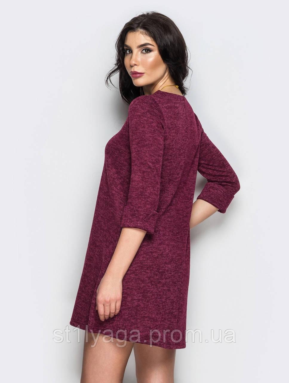 dc8a4087ac3 Трикотажное платье-трапеция с подвернутым рукавом три четверти ...