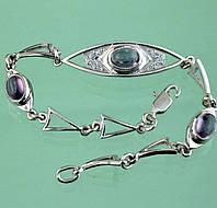 Срібний браслет з агатом та цирконом