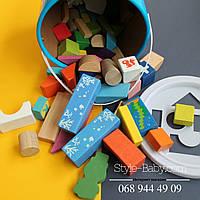 Деревянная игрушка Городок конструктор, 50 дет, в ведре, 18-19см
