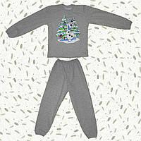 Детская пижама с начесом Снеговик Олаф (серая)