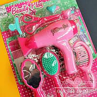 Набор парикмахера фен (звук) расческа,зеркало,заколоч,ножницы,на бат,на листе,25-35,5-5с