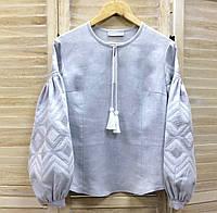 Стильная вышиванка из серого льна вышивка ромбы в цвет ткани
