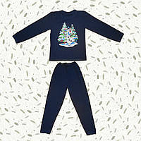 Детская пижама с начесом Снеговик Олаф (темно синий)