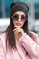 Женская шапка из трикотажа двойная