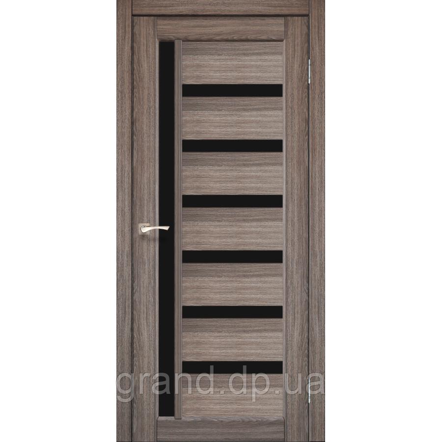 Двери межкомнатные  Корфад VALENTINO DELUXE Модель: VLD-01 цвет дуб грей с черным стеклом