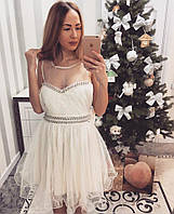 Женское вечернее платье украшенное бантом и камнями, фото 1
