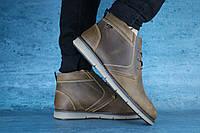 Ботинки зимние мужские кожаные оливковые Yuves 10482