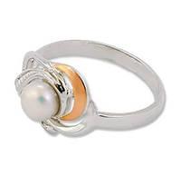 """Женское серебряное кольцо с золотой пластиной """"з026к"""""""