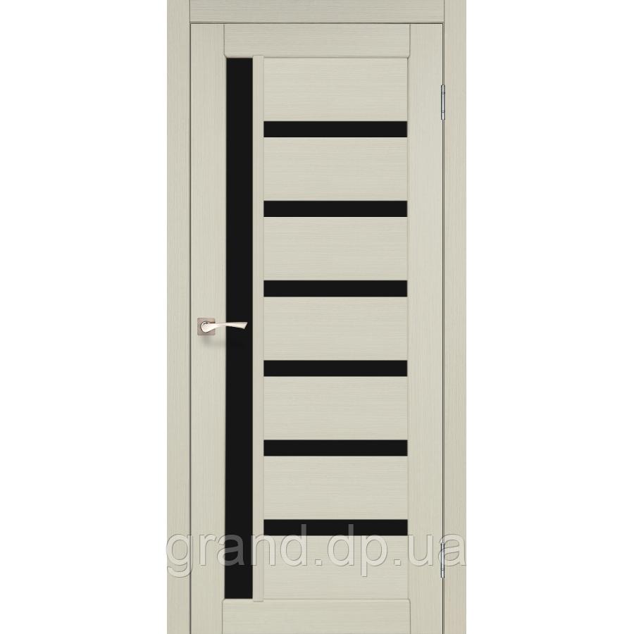 Двери межкомнатные  Корфад VALENTINO DELUXE Модель: VLD-01  дуб беленый с черным стеклом