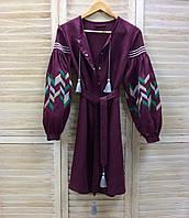 Функціональна сукня кольору марсала на планці вишивка 3D