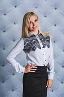 Рубашка женская с кружевом белая