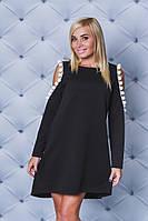 Платье женское с бубонами черное, фото 1