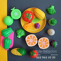 Фрукты овощи, на липучке, тарелка, досточка, нож, 2 вида, в сумке, 22-14-7см