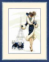"""Набор для вышивания крестом Crystal Art ВТ-066 """"Прогулка в Париже"""", 20x27 см"""