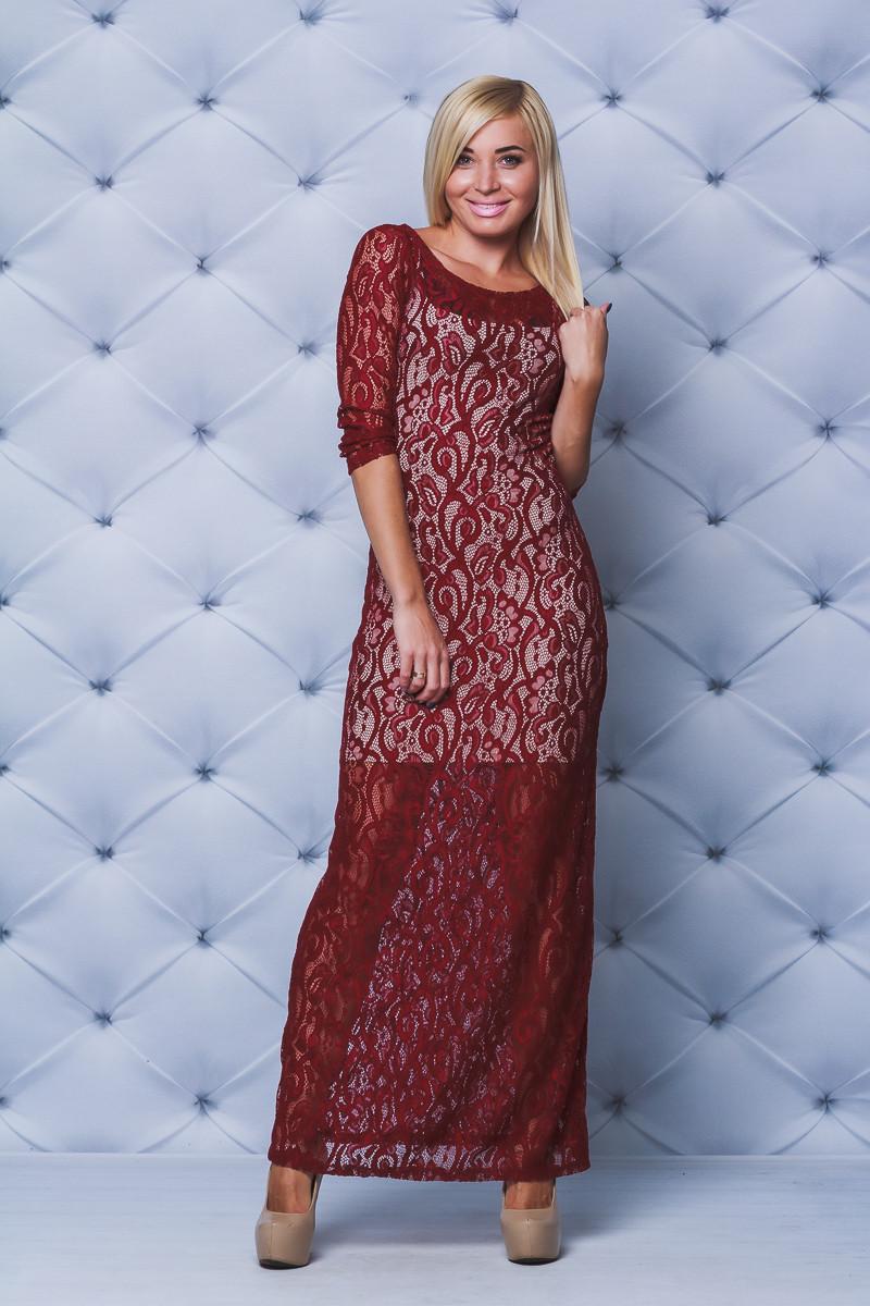 Платье в пол кружевное бордо