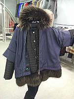 Супер новинка! Зимняя куртка с мехом золотой чернобуркой.