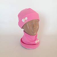 "Набор (шапка+слюнявчик) ""Ширли"" розового цвета"