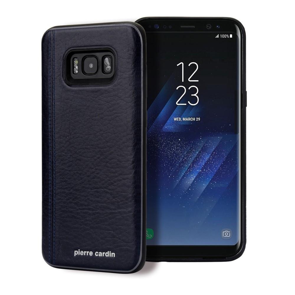 Чехол накладка для Samsung Galaxy S8 Plus G955 с кожаным покрытием PIERRE CARDIN, Elegant, темно-синий