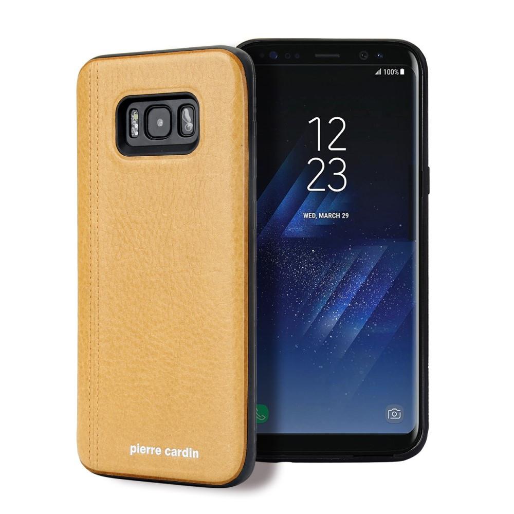 Чехол накладка для Samsung Galaxy S8 Plus G955 с кожаным покрытием PIERRE CARDIN, Elegant, желтый