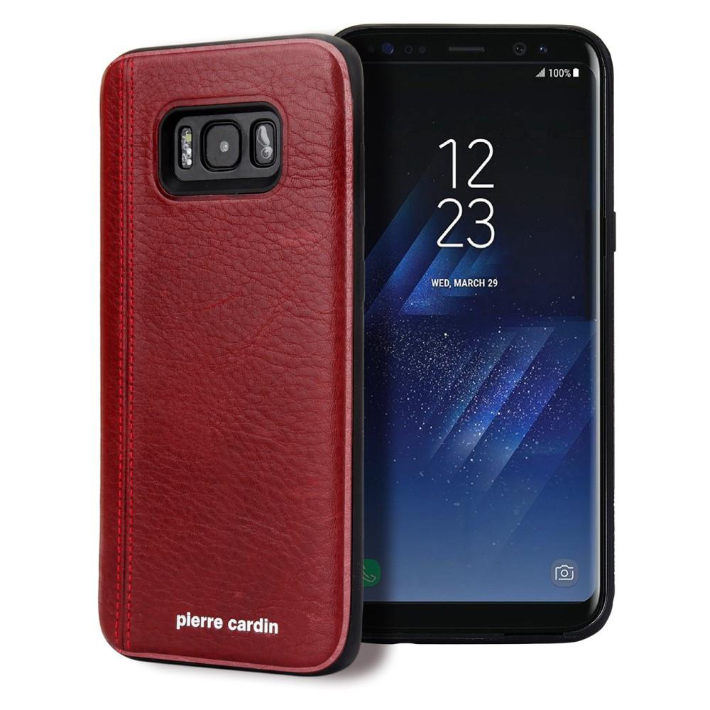 Чехол накладка для Samsung Galaxy S8 Plus G955 с кожаным покрытием PIERRE CARDIN, Elegant, красный