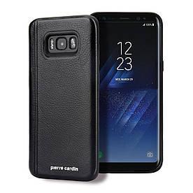 Чохол накладка для Samsung Galaxy S8 Plus G955 з шкіряним покриттям PIERRE CARDIN, Elegant, чорний