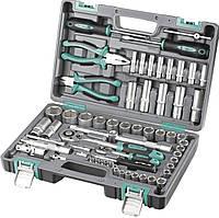 Набор инструментов 1/2 1/4 CrV пластиковый кейс 69 предметов STELS 14108