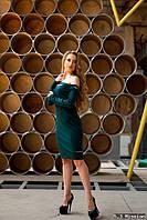Темно-зеленое оригинальное  платье  321/1