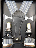Мужские подтяжки для брюк серые в полоску, фото 2