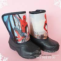 Детские сапоги дутики для мальчика Spiderman на меху зимние Vitaliya р.25-27,29-31,5