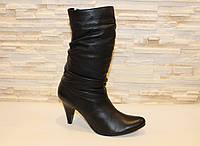 Сапоги женские черные на каблуке натуральная кожа Д516 р 39