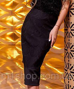 Женская юбка-карандаш с кружевом (Санитиjd) Черный