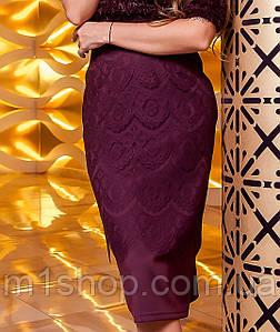 Женская юбка-карандаш с кружевом (Санитиjd) Марсала