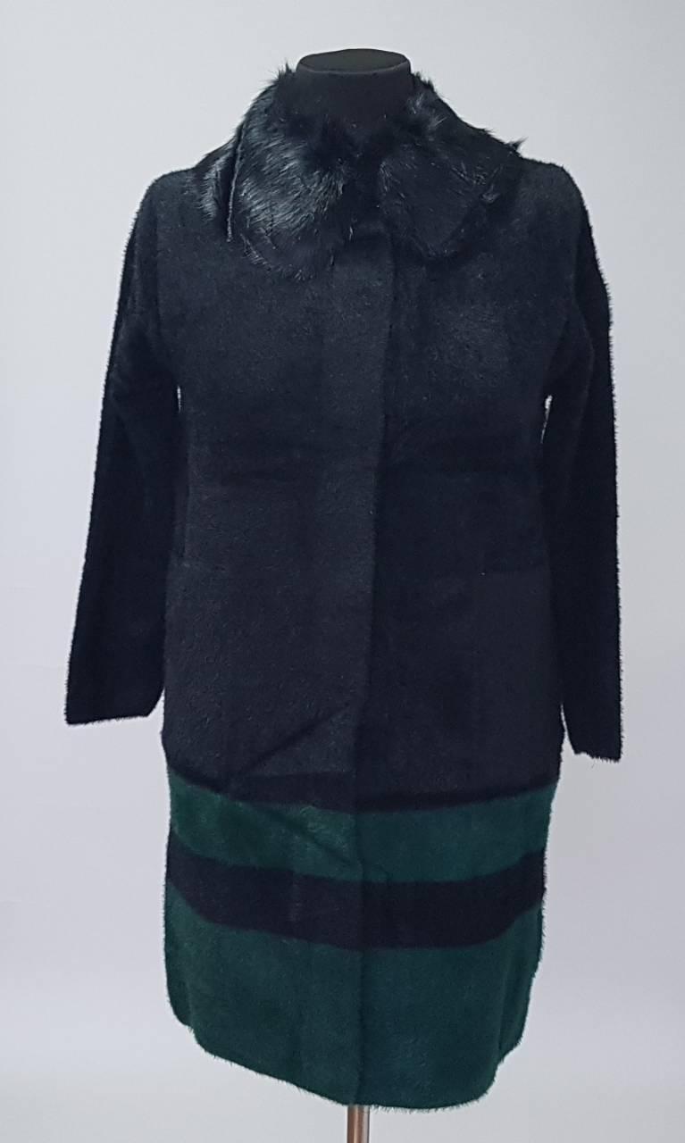 Пальто-кардиган с воротником из натурального меха