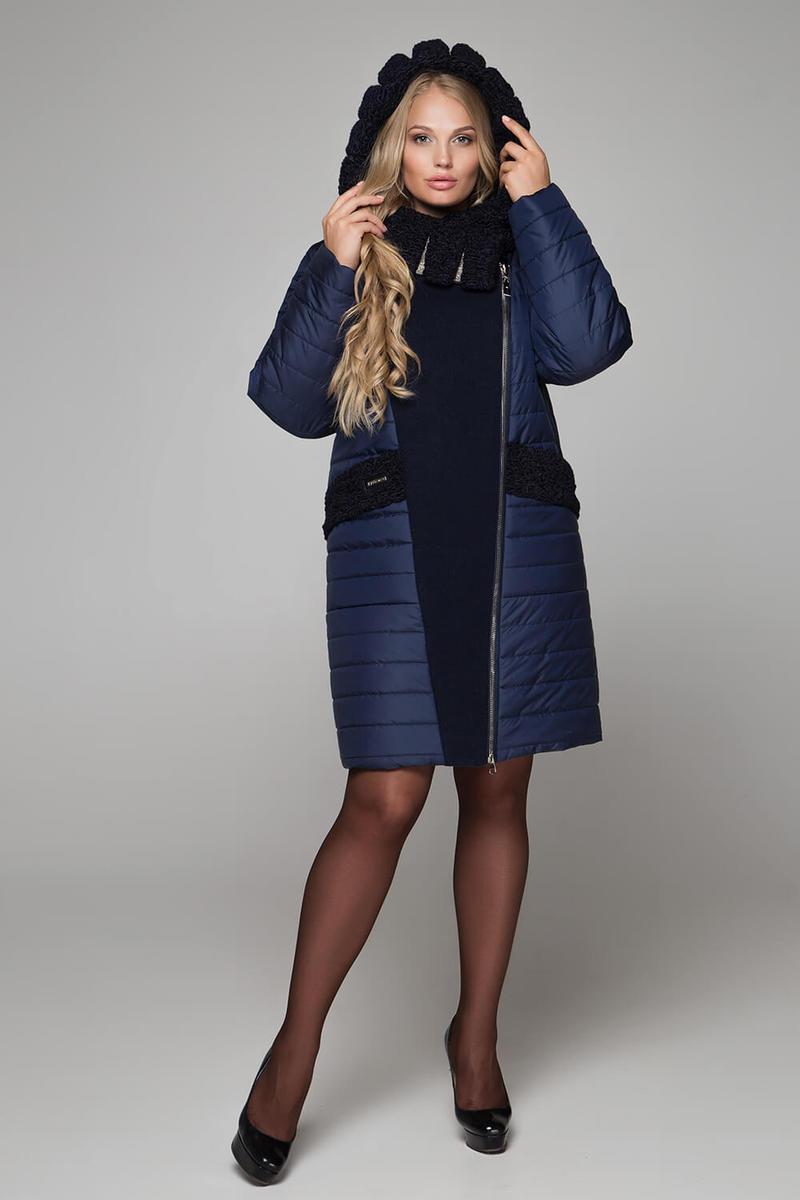 Двубортное зимнее комбинированное пальто размер 50