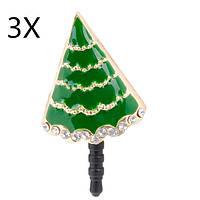 3x Рождественский подарок дерево сотового телефона анти Dust разъем для мобильного телефона