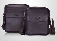 Мужская стильная кожаная сумка VIDENG POLO New (большая). Сумка-планшетка - сумка через плечо.