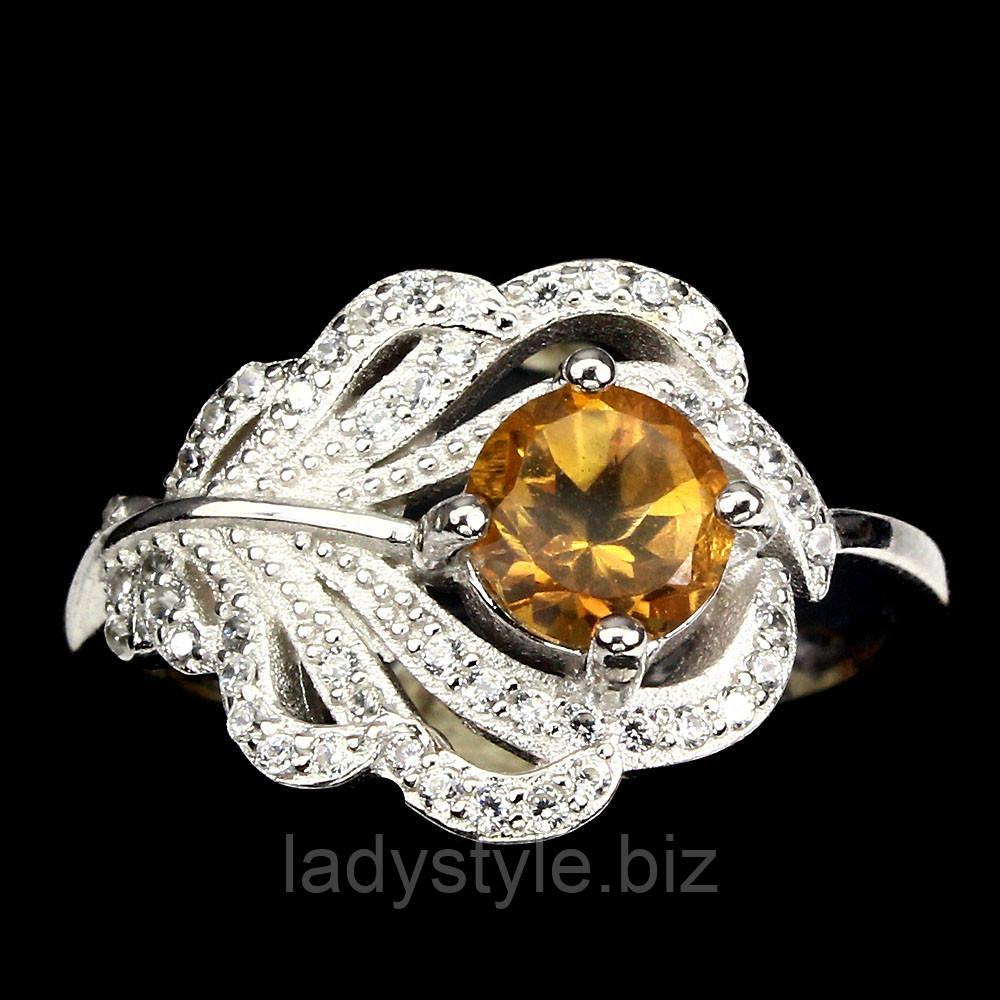 """Серебряное кольцо с цитрином """"Павлинье перо"""", размер 17"""