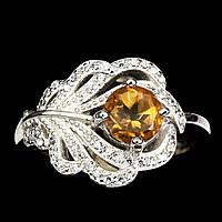 """Серебряное кольцо с цитрином """"Павлинье перо"""", размер 17, фото 1"""