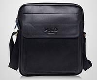Мужская стильная кожаная сумка VIDENG POLO New (черная 25*21). Сумка-планшетка - сумка через плечо.