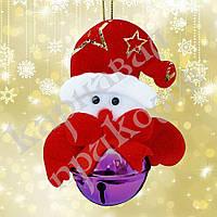 Новогодняя подвеска бубенчик Снеговик (фиолетовый)