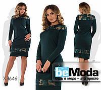 Модное женское платье из креп дайвинга и стильными вставками из пайеток зеленое