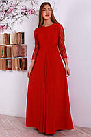 Красное длинное платье с гипюровыми рукавами
