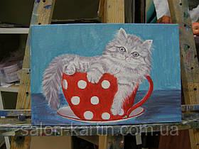 "Картина ""Котенок в чашке"""